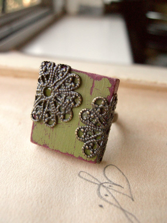 Cottage Chic Ring Filigree Boho Adjustable Scrabble Tile  - Olivine