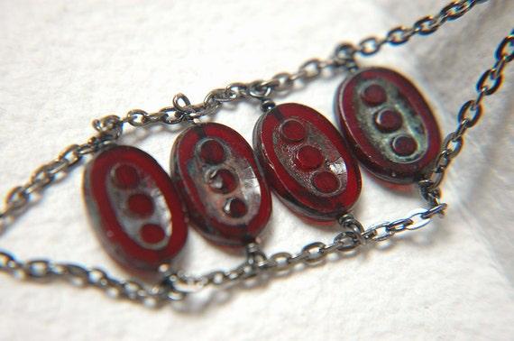 Modern Geometric Cuff Bracelet with Czech Glass Beads - Two Three Four.
