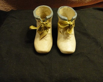 Reduced - Parian Ceramic Unmarked Baby Shoes with Green Ribbons -