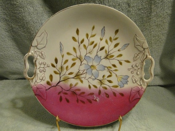 Serving or Cake Floral Plate unmarked 11 inches-