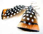 Burnt Orange Feather Earrings with Spots and Stripes