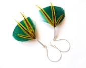 Teal Feather Earrings with Yellow Accents on Oversized Earring Hooks