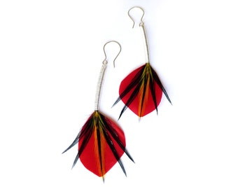 Japanese-Inspired Feather Earrings in Red and Black with Long Silver Stems