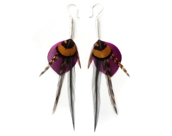 Mustard and Purple Leaf Shape Feather Earrings with Long Accents