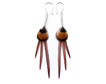 Chandelier Style Feather Earrings in Natural Mustard Yellow and Ochre Rusty Brown