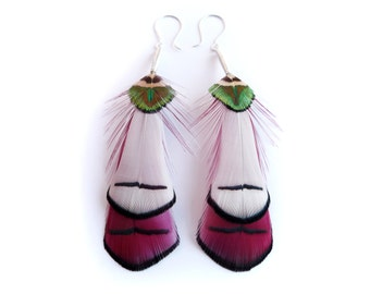 Shiny Feather Earrings in Wine Red and White with Peacock Feathers