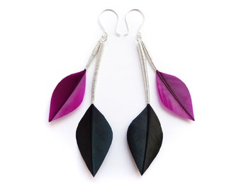 Minimalist Feather Earrings in Leaf Shapes with Silver Stems in Purple and Jet Black