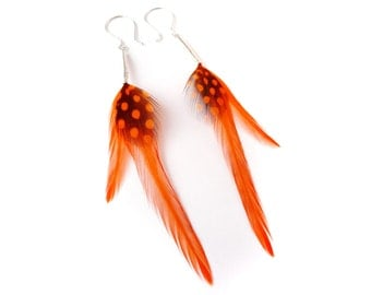 Bright Neon Orange Soft Feather Earrings with Small Spotty Detail