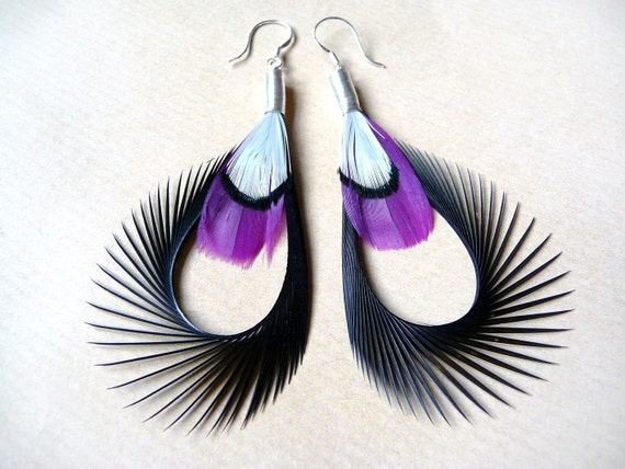 Fanned Out Feather Earrings in Black, Purple and White