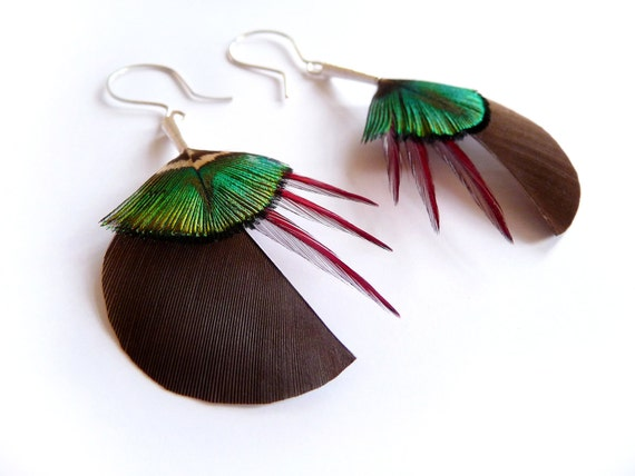 Circular Feather Earrings in Brown and Lime Green with Red Accents