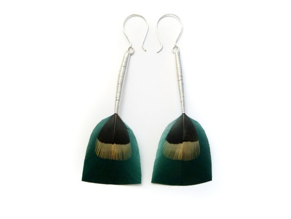 Crisp Teal Feather Earrings with Long Silver Stems