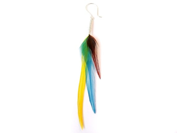 Colorful Single Feather Earring in Chocolate Brown, Bright Yellow and Sky Blue - READY TO SHIP