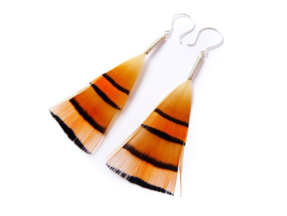 Geometric Feather Earrings in Vibrant Burnt Orange with Striking Black Stripes