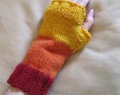 Red, orange and gold fingerless mittens by Whitaker Knits