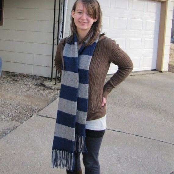 Scarf in Ravenclaw colors by Whitaker Knits