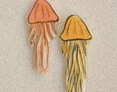Jellyfish Mosaic Tiles - Two Colorful Jellies for Jewelry, Magnets, Mosaics