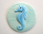 Mosaic tiles ceramic Seahorse ocean Hand painted art Tiles for Mosaics, Jewelry and Crafts