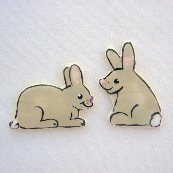 Ceramic mosaic tile hand painted rabbit bunny art tiles supplies for Mosaics, Magnets, floral, Jewelry