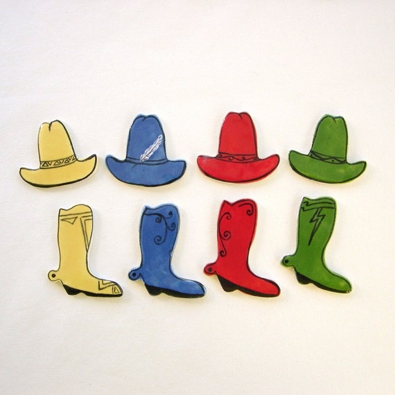 Mosaic cowboy hat and cowboy boots ceramic tiles art for mosaics, magnets, jewelry and crafts