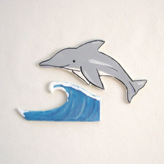 Mosaic tiles ceramic dolphin waves tiles for mosaics, magnets, jewelry and more