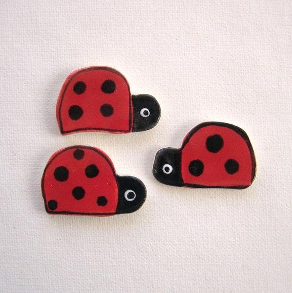 Mosaic tiles ceramic supplies ladybugs art tiles for mosaics, magnets, jewelry