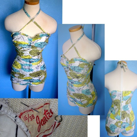 Vintage 1950s Jantzen halter ruched swimsuit bathing suit marked size 36 excellent condition cheesecake pin up