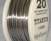 20 Gauge Titanium Non Tarnish Permanently Colored Enameled Wire, 18 feet