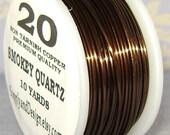 20 Gauge Smokey Quartz Non Tarnish Permanently Colored Enameled Wire, 30 Feet