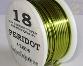 18 Gauge Peridot Non Tarnish Permanently Colored Enameled Wire, 12 Feet