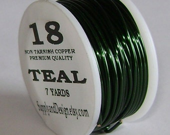 18 Gauge Teal Non Tarnish Permanently Colored Enameled Wire, 21 feet
