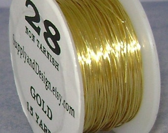 28 Gauge Gold Non Tarnish Permanently Colored Enameled Wire, 45 feet