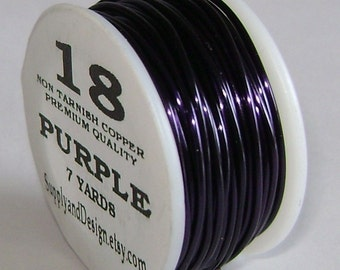 18 Gauge Purple Non Tarnish Permanently Colored Enameled Wire, 21 feet
