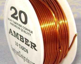 20 Gauge Amber Non Tarnish Permanently Colored Enameled Wire, 30 Feet
