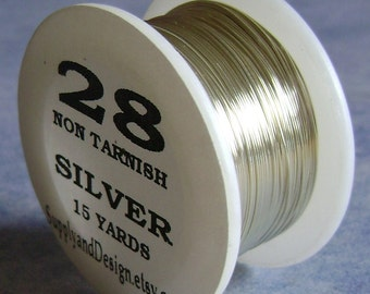 28 Gauge Silver Non Tarnish Permanently Colored Enameled Wire, 45 feet