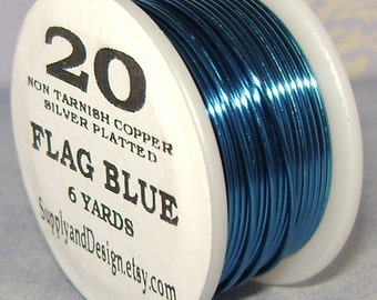 20 Gauge Flag Blue Non Tarnish Permanently Colored Enameled Wire, 18 feet