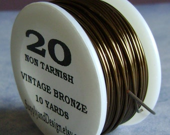 20 Gauge Vintage Bronze Non Tarnish Permanently Colored Enameled Wire, 30 feet