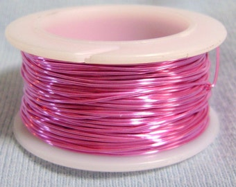 24 Gauge Hot Pink Non Tarnish Permanently Colored Enameled Wire, 30 feet
