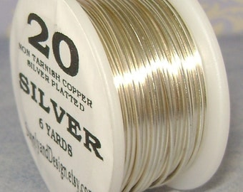 20 Gauge Silver Non Tarnish Permanently Colored Enameled Wire, 18 Feet