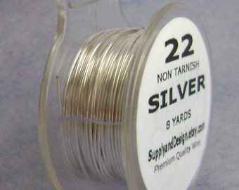 22 Gauge Silver Non Tarnish Permanently Colored Enameled Wire, 24 Feet