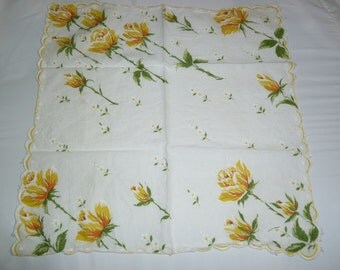 Yellow Rose Scallop Edge Handkerchief