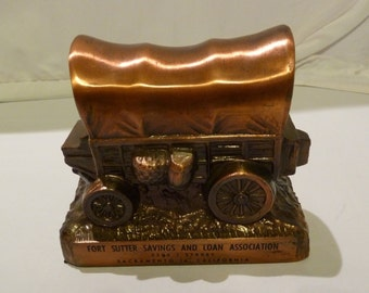 Copper Fort Sutter Covered Wagon Bank