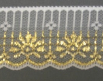 Gold Metallic and White Lace 2 inch by 1 yard  702G