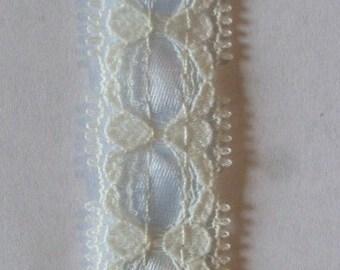 Ivory Beading Lace with Light Blue Ribbon 3/4 x 5 yards Trims (o)