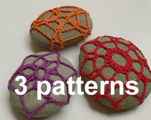 crocheted stones - 3 different  patterns with diagrams