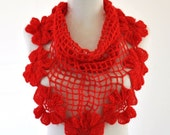 Red Flowers Mohair Cowl / Neckwarmer Soft Light Garnet Gift for Her