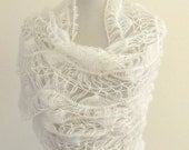White Crochet Shawl Lace Mohair Beaded Wedding Shawl Wrap Exclusive Elegant