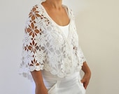 Crochet Shawl Weddings Shawl White Mohair Unique Delicate Chic Romantic