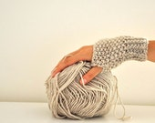 Fingerless Mittens Gloves Wrist Warmers Biker Gloves Hand Knit Beige Warm Cozy Winter Accessories Gift for Her