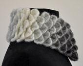 Scarf Cowl Neckwarmer Crochet Black Gray White Mohair Ombre Chic Elegant