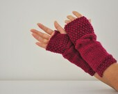 Long Fingerless Gloves Armwarmers Hand Knit Maroon Cable Wool